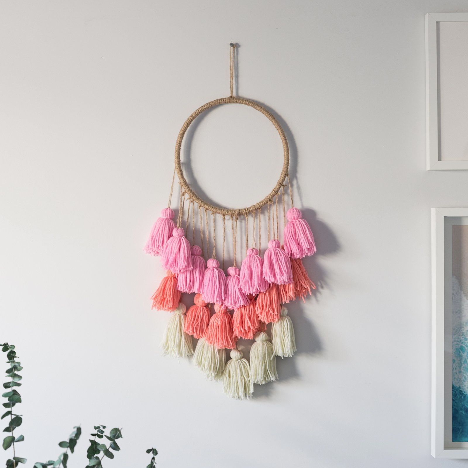 Pink Macrame Wall Hanging for Boho Decor. Woven Wall Hanging is The Perfect Boho Wall Decor. Pink Macrame Wall Hanging, 10''x25''