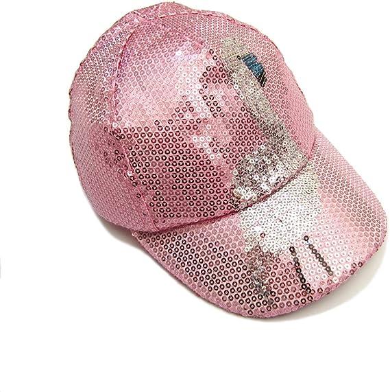 Gifts Treat Cappello da Baseball da Donna Cappelli da Sole per Bambini con Ricamo di Paillette Rosa Fenicottero Simpatico Cartone Animato