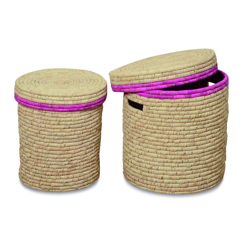 The Key West Tropical Pink Rimmed Wicker Rope Weave Tall Baskets, Set of 2, Fitted Lids, Natural and Pink, For Decorative, Storage, Laundry, 20 1/2 and 18 1/2 Inches Tall, By Whole House Worlds by Whole House Worlds