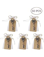 50 pcs regalos para bodas, diseño de llave Skeleton con función abrebotellas, con tarjeta