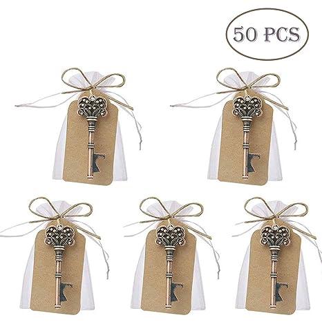 50 pcs regalos para bodas, diseño de llave Skeleton con función abrebotellas, con tarjeta, Bolsas de Recuerdos de Boda