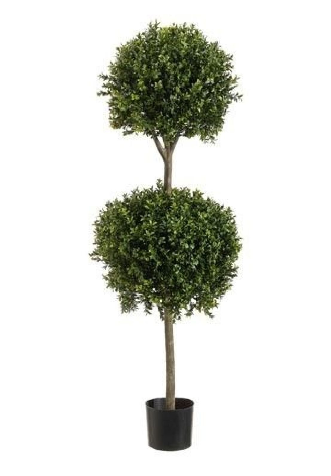 4' 8'' Boxwood 2 Ball Topiary Artificial Tree W Pot In Outdoor Plant Patio Fake