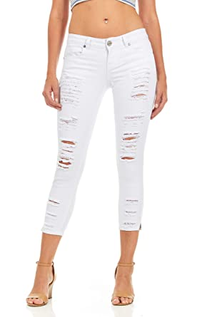 16f157d3bad Cover Girl Women's Cropped Ripped Distressed Skinny Jeans Size 1 White  Distressed