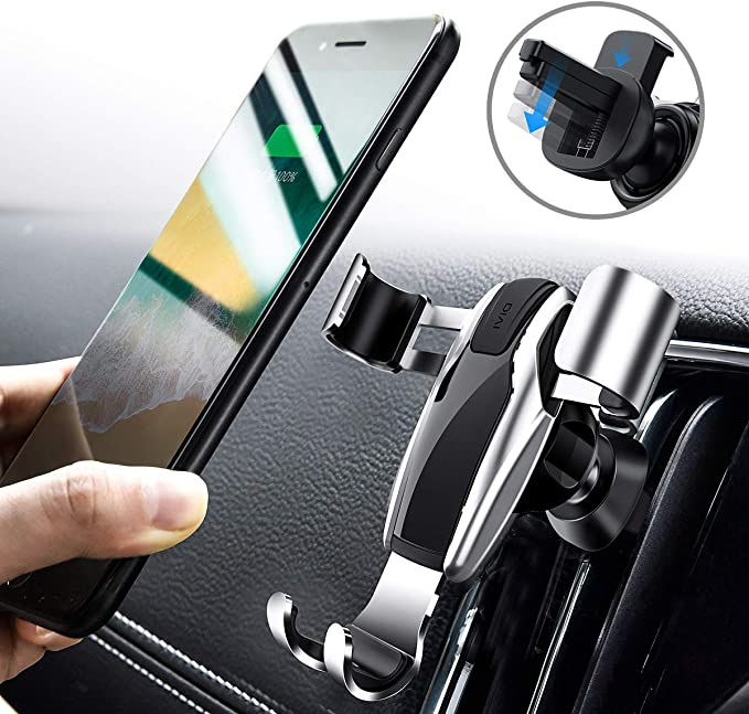 Silver Car phone holder Universal phone holder for car vent Non-magnetic design Memory function 360/°rotation light-weight aluminum alloy Suitable for most smartphones IPhone Samsung Huawei Xiaomi