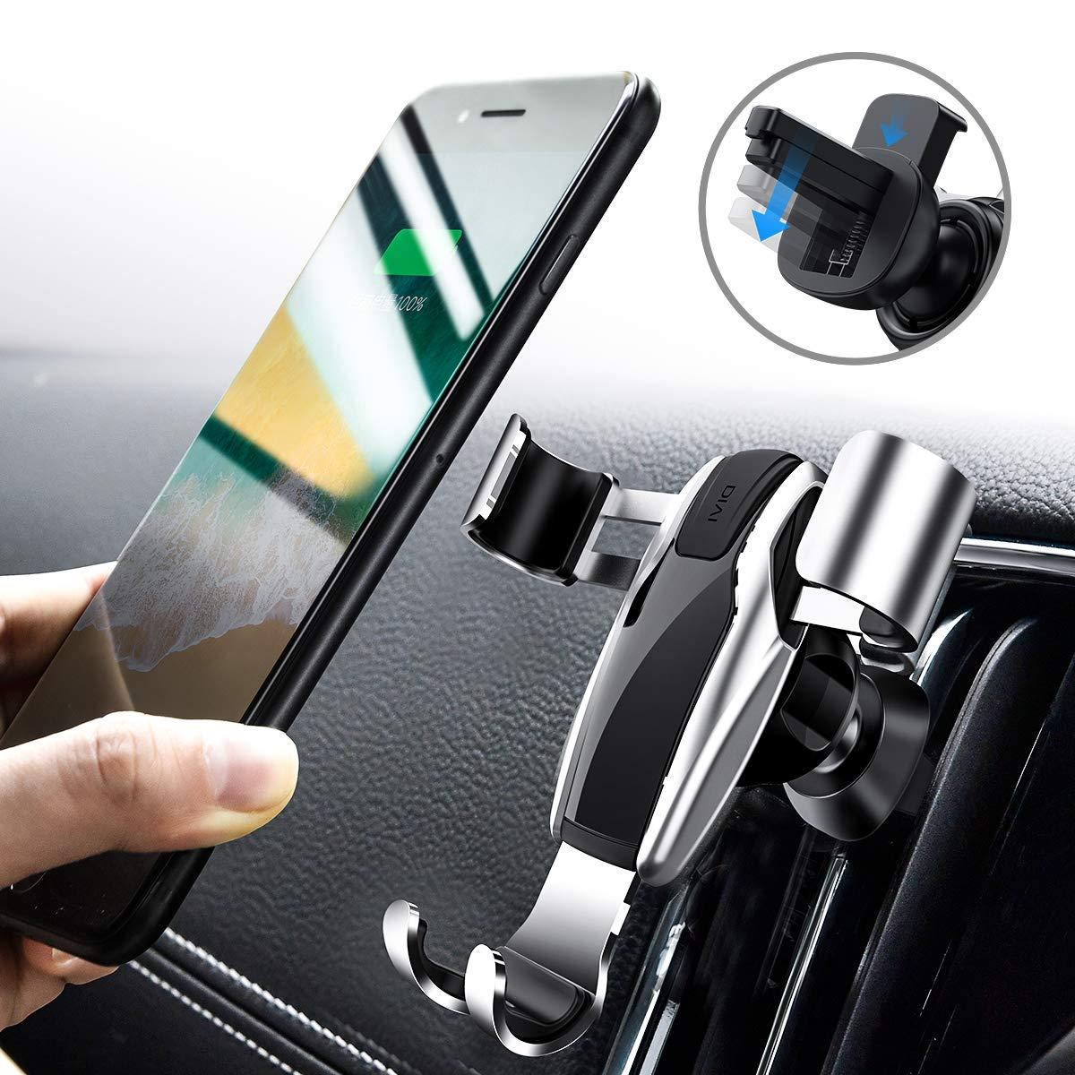 Soporte M/óvil Coche Soporte Smartphone Coche para Rejillas del Aire de Coche Universal 360 /° Rotaci/ón Dise/ño de Enlace de Gravedad Car Mount para Phone X//8//7//6 Plus Samsung Note 8 // S8 Negro
