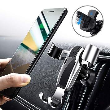 DIVI Soporte Móvil Coche, Soporte Smartphone Coche para Phone X/8/7/6 Plus Samsung Note 8 / S8 (Plata): Amazon.es: Electrónica