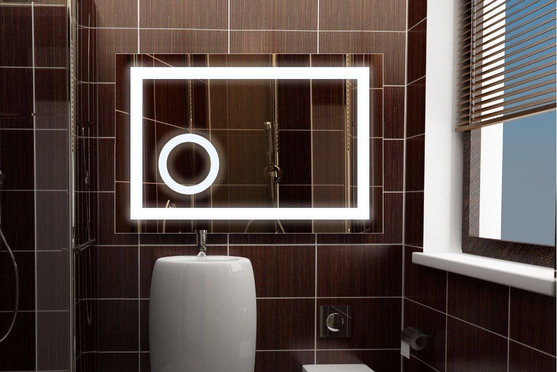 LED Spiegel mit Beleuchtung und intergriertem Kosmetikspiegel, 60x80 cm, Badspiegel, Lichtspiegel, Neutralweiß