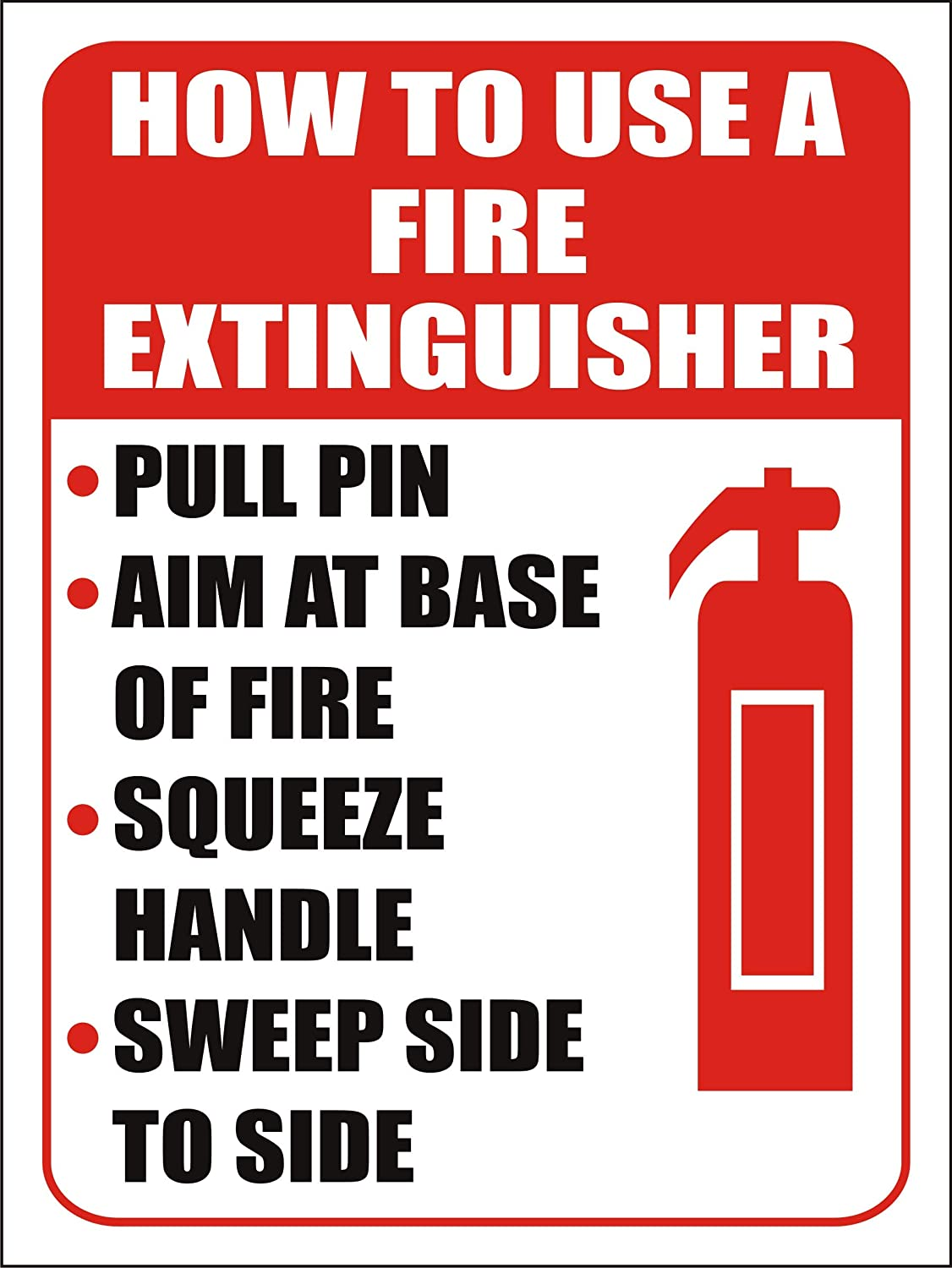 """eSplanade How to use Fire Extinguisher Sign Sticker Decal - Easy to Mount Weather Resistant Long Lasting Ink (Size 12""""x9"""")"""
