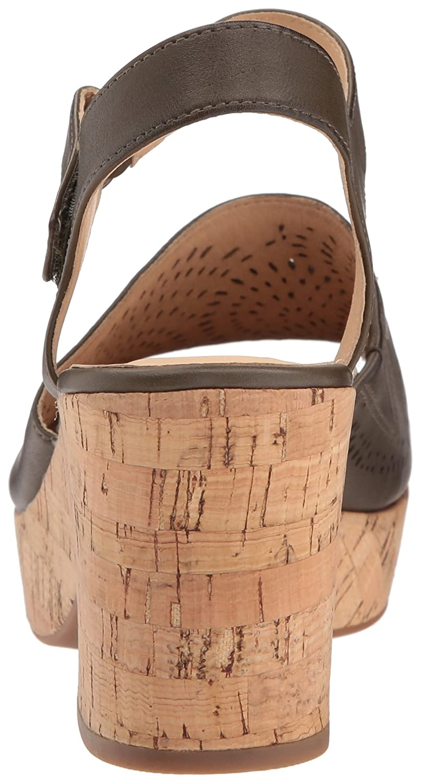 CLARKS Women's maritsa Nila Wedge Sandal, Khaki Leather, 7 Medium US