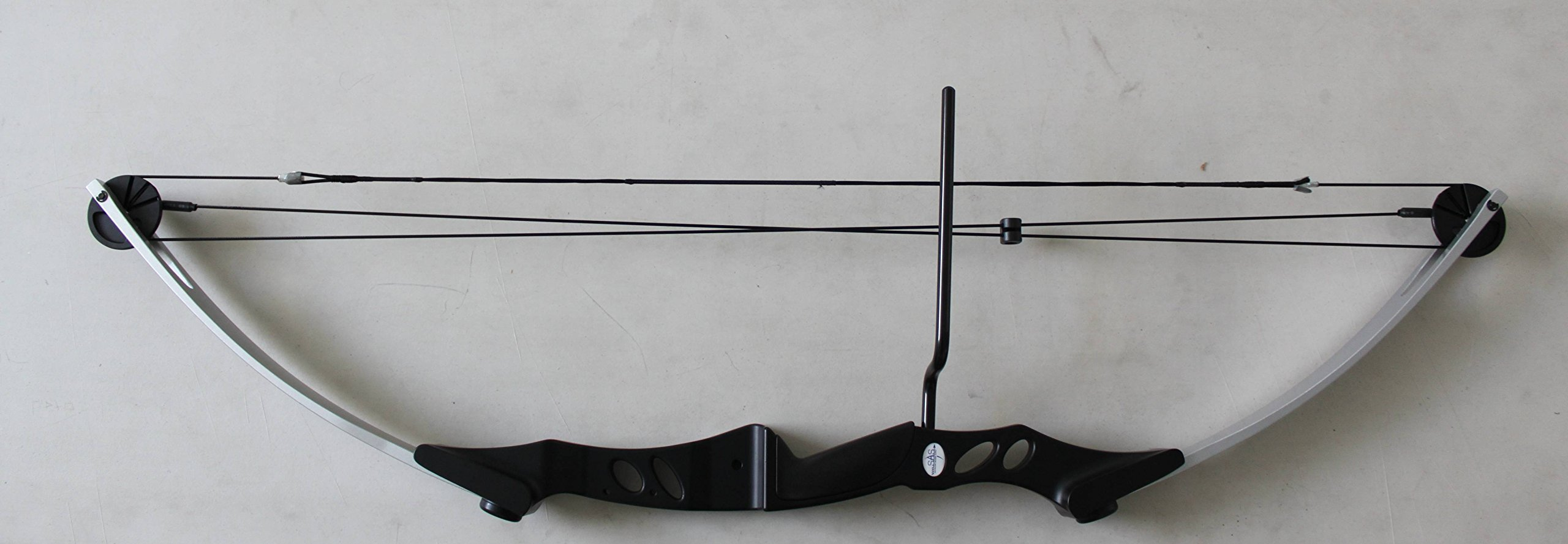 SAS Siege 55 lb Compound Bow w/ 5-Spot Paper Target - Silver/Black with Accessories by Siege