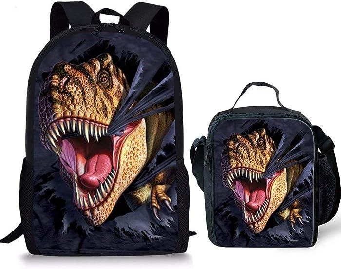 HUGS IDEA Boys Dinosaur Backpack Set 3D Animal School Bag and Lunchbag for Kids