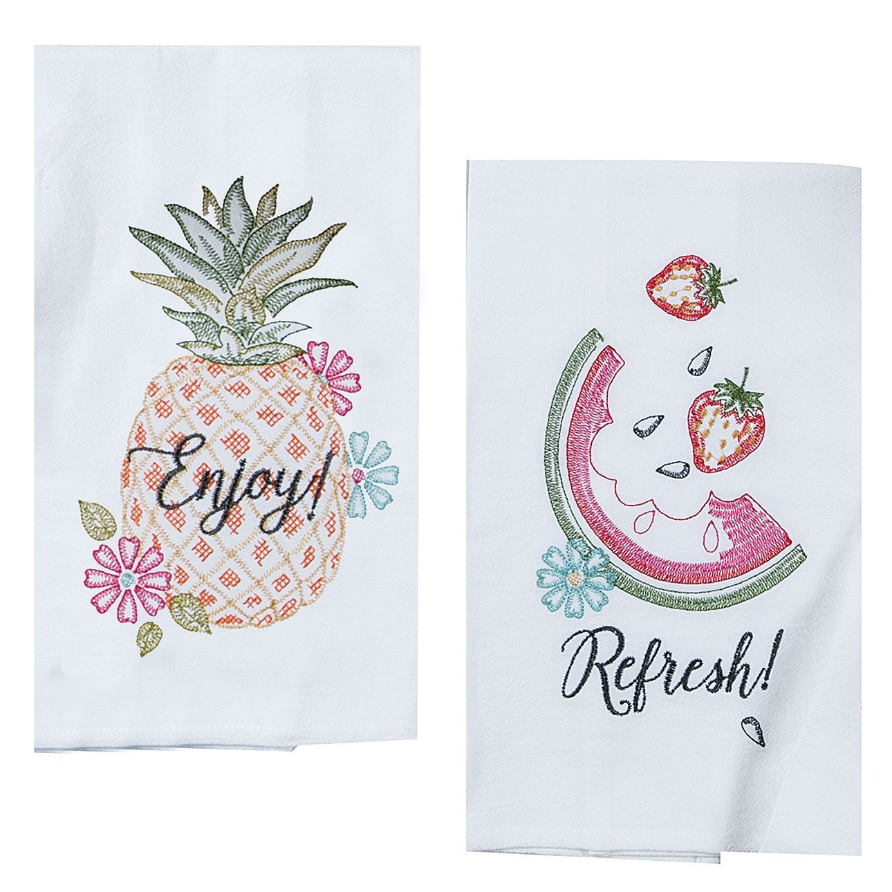 Kay Dee Designs Hawaiian Summer Fruit Embroidered Kitchen Towel Set Hand Towels Watermelons And Pineapple 2 Pc Dish Cloths With Melon And Pineapples