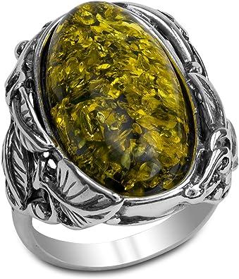 bijoux argent ambre vert