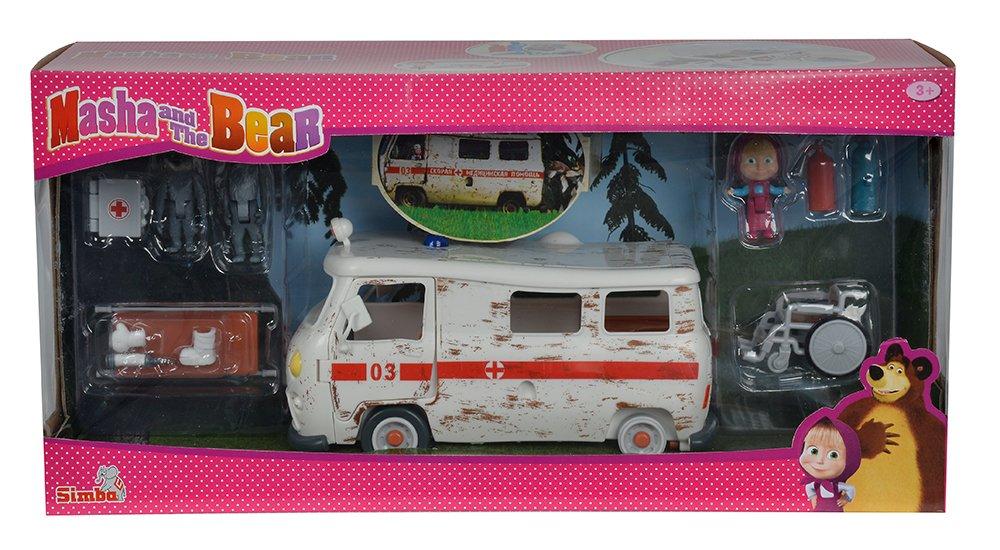 Simba 109309863 - Mascha und der Bär Spielset Krankenwagen 20 cm Simba Toys empfohlenes Alter: ab 3 Jahre Non Books Non Books / Spielzeug