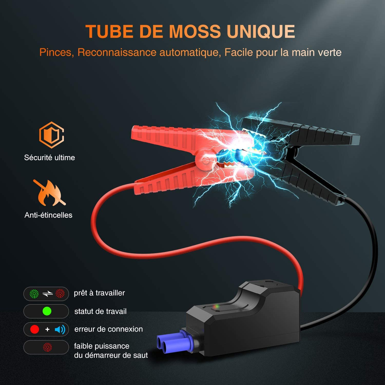1600A 16000mAh Portable Jump Starter Jusqu/'/à 7.0L Essence 8.0L Gazole UTRAI Booster Batterie D/émarrage de Voiture UL Certifi/é Alimentation El/éctrique durgence pour Voiture avec Lamp LED
