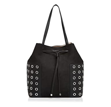 fa360c2f8164 Amazon.com  Tory Burch Block-T Grommet Drawstring Tote in Black  Clothing
