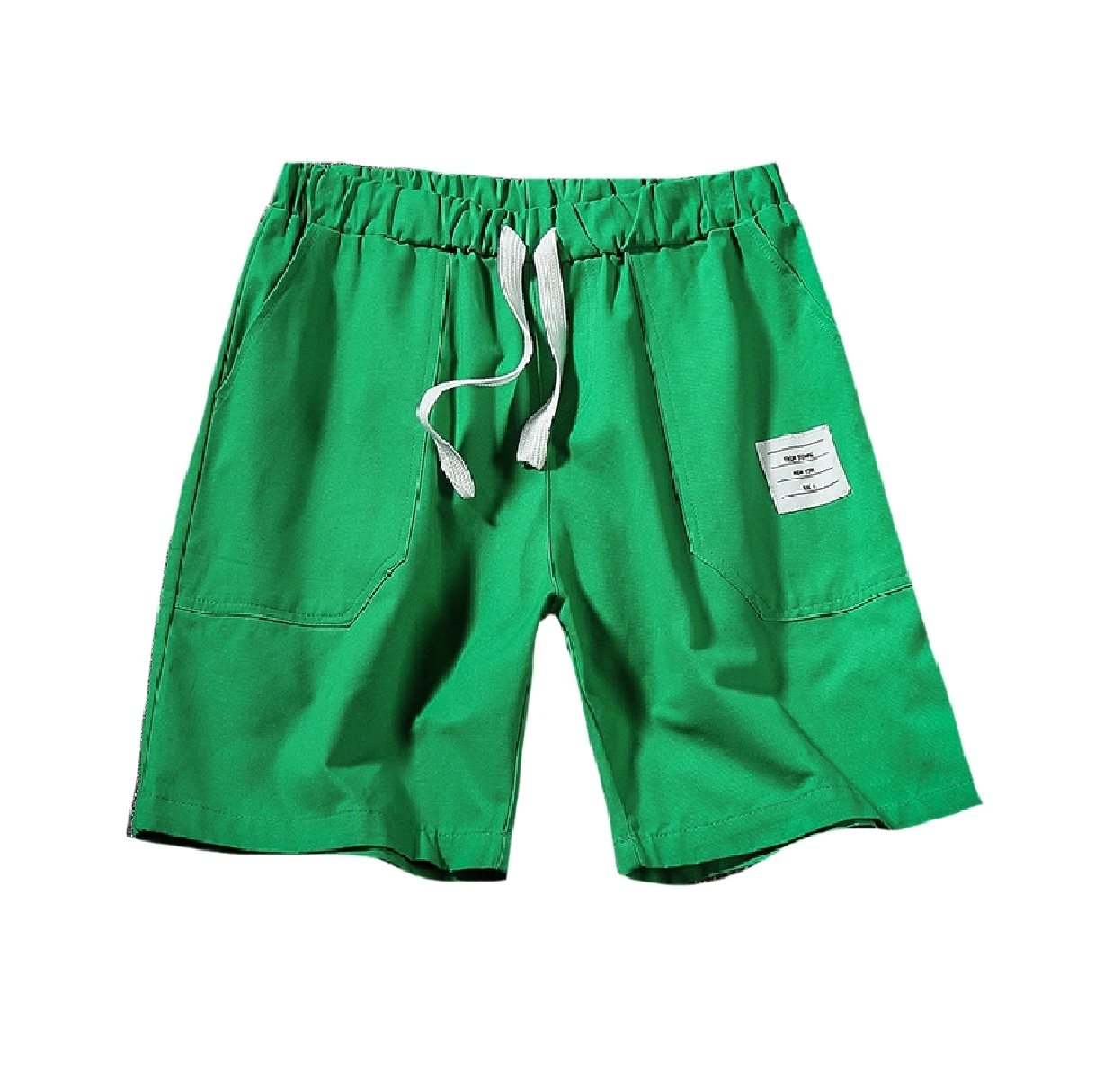 Mfasica Men Fine Cotton Solid-Colored Wide Leg Oversized Midi Shorts Green 4XL