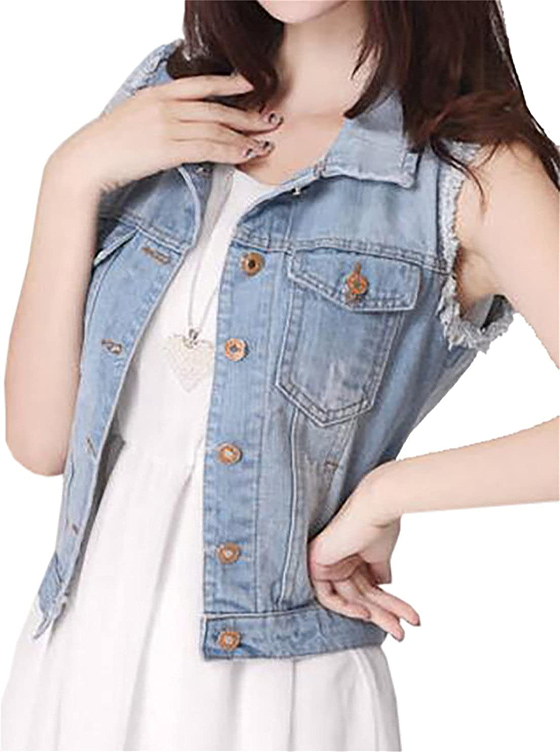 GRMO-Women Distressed Lapel Denim Outfits Sleeveless Jean Vest Jacket