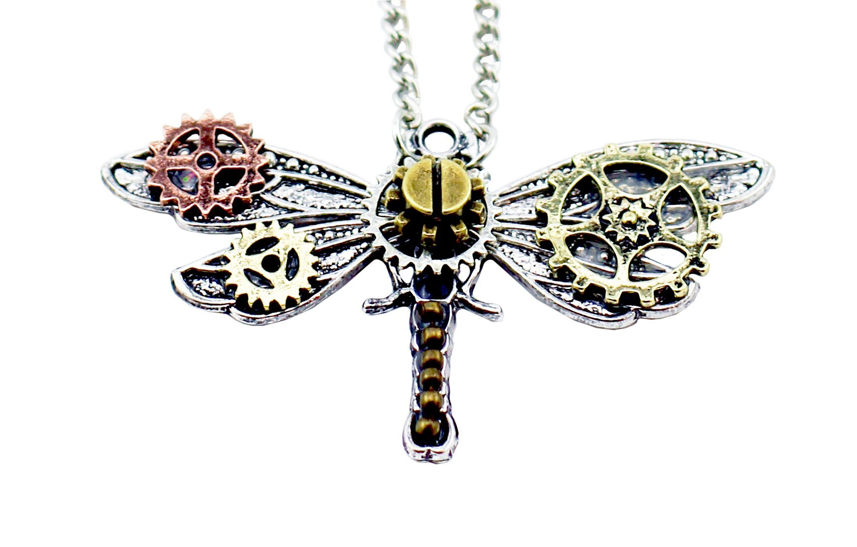 Frankenstrap Steampunk Dragonfly Pendant Necklace - Vintage Gear Cosplay Jewelery 4
