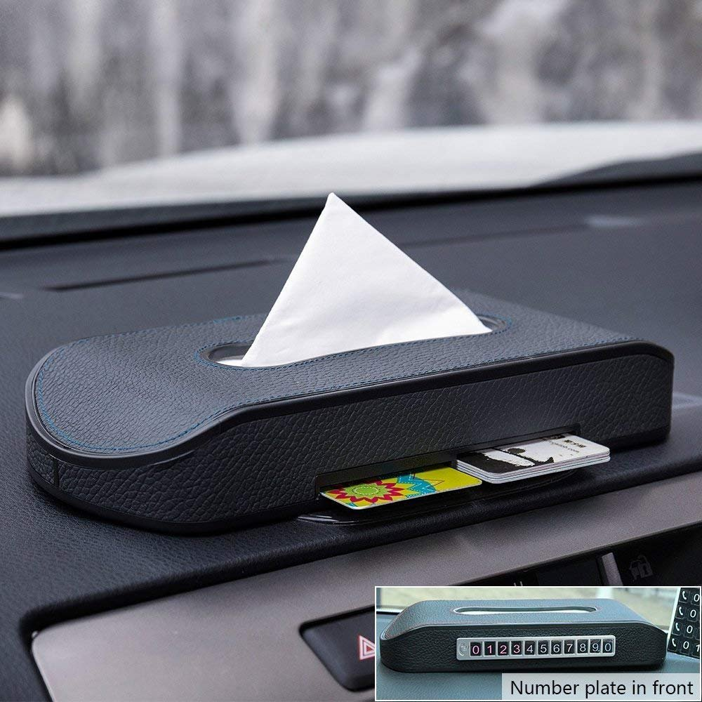 Mr.Ho Luxury Black Leather Car Napkin Holder Multi-use Paper Towel Cover Case with One Tissue Refill for Car /& Truck Decoration