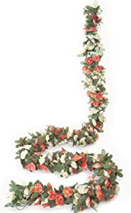 Meiliy 6 Pack 49.2 FT Fake Rose Vine Flowers Plants Artificial Flower Hanging Rose Ivy Home Hotel Office Wedding Party Garden Craft Art Décor Champagne