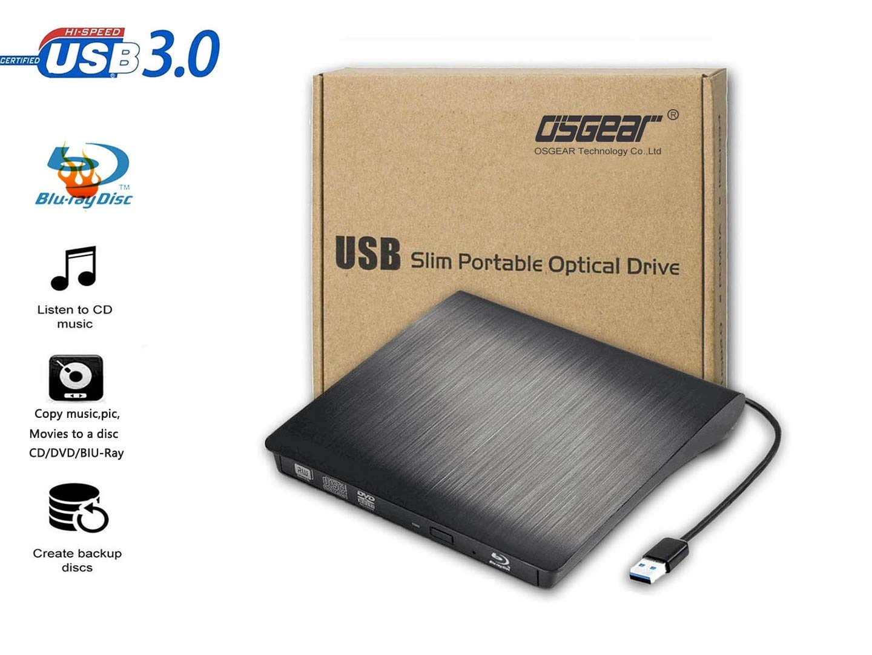 OSGEAR USB3.0 Slim External 6x Blu-Ray BD CD DVD RW ROM Writer Burner Drive Mac PC Laptop Desktop Tray Loading Portable Enclosure Housing Box Caddy Case