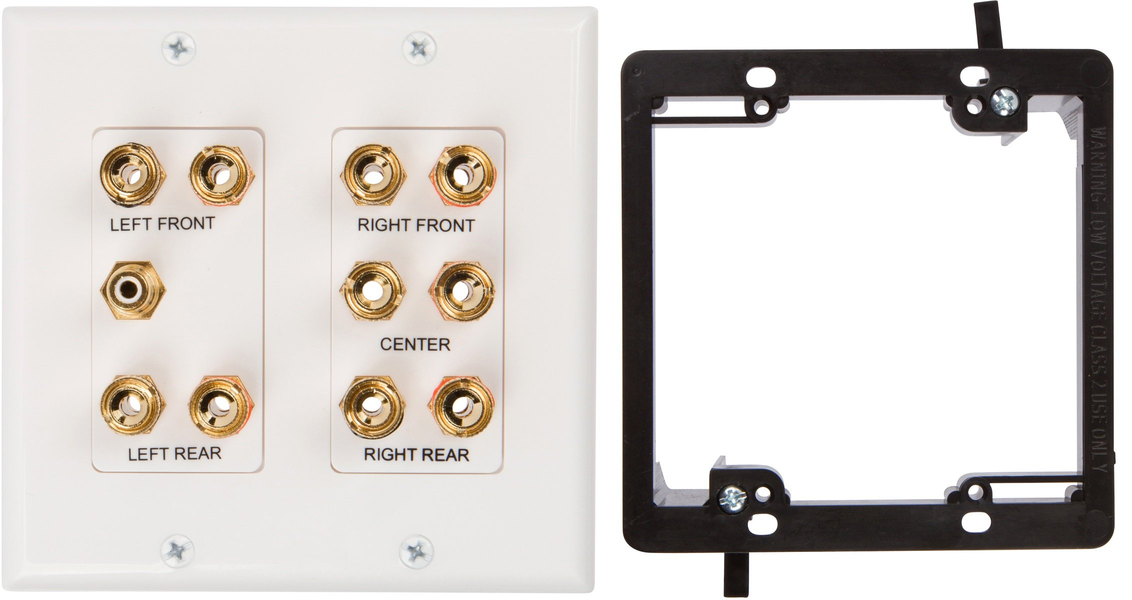 Buyer's Point 5.1 Speaker Wall Plate, Premium Quality Gold Plated Copper Banana Binding Post Coupler Type, with 2 Gang Low Voltage Mounting Bracket Device, for 5 Speakers and 1 RCA Jack for Subwoofer