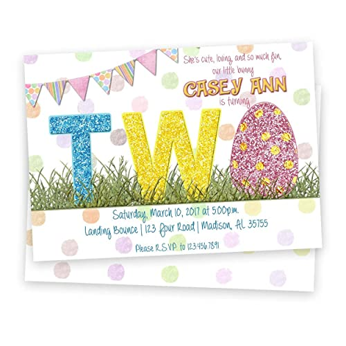 Amazon Girls Easter 2nd Birthday Invitations Pink Pastel