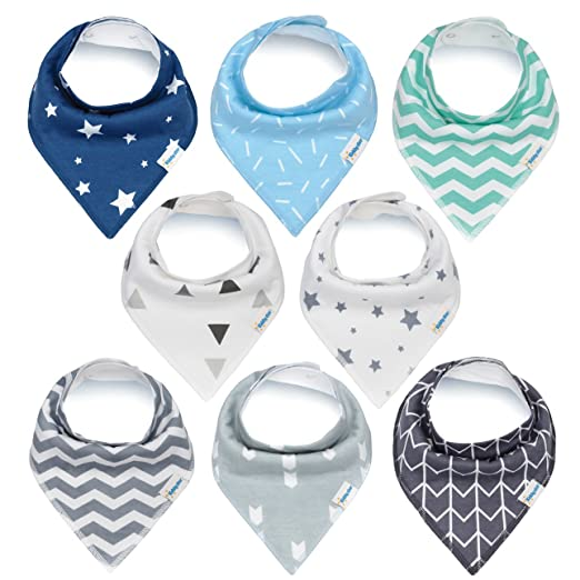 Baby Bandana Drool Bibs, Unisex 8-Pack Gift Set for Drooling and Teething