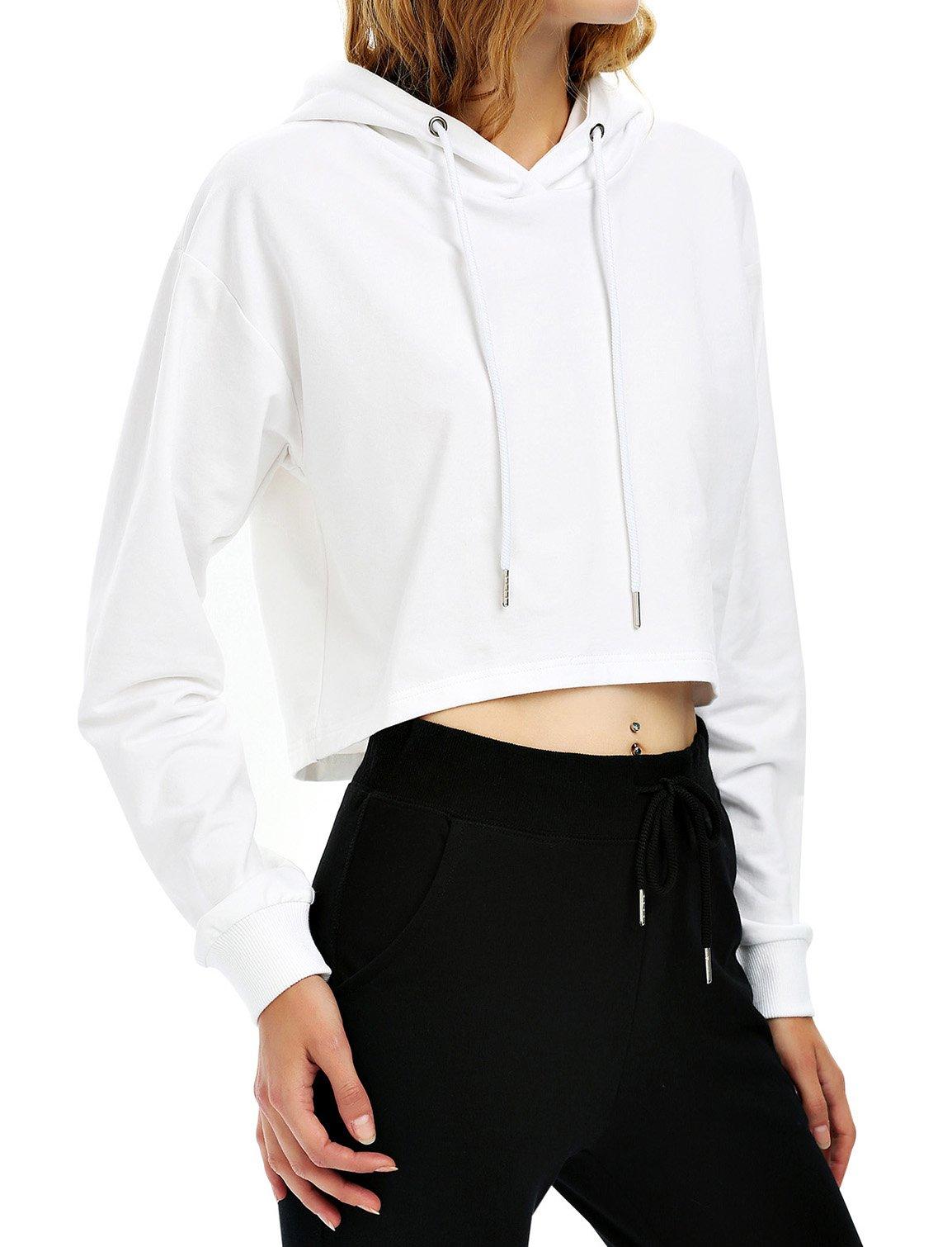 ZAN.STYLE Women's Long Sleeve Crop Top Hoodie Drawstring Pullover Sweatshirt (X-Large, Hoodie-White)
