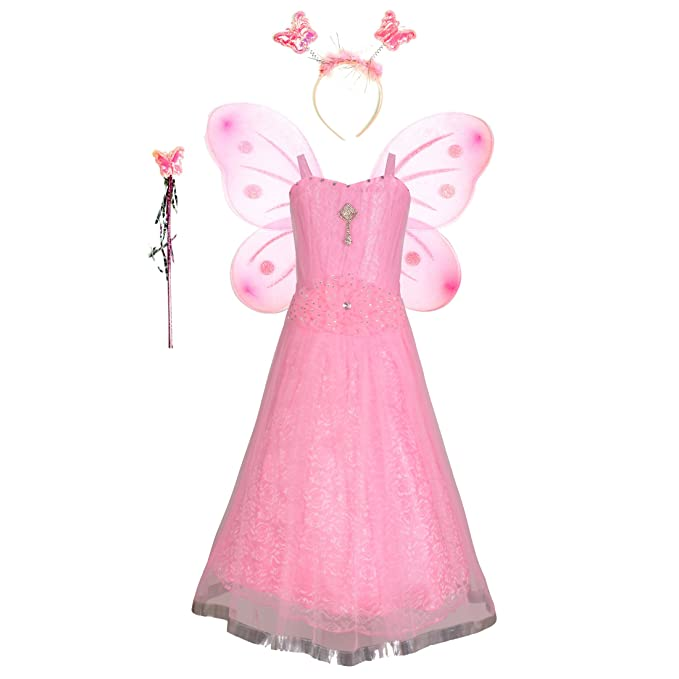 71bfb2988a925 Aarika Girl's Christmas Angel Gown with Butterfly Wings  (PARI-12712-PINK_32_9-10 Years): Amazon.in: Clothing & Accessories