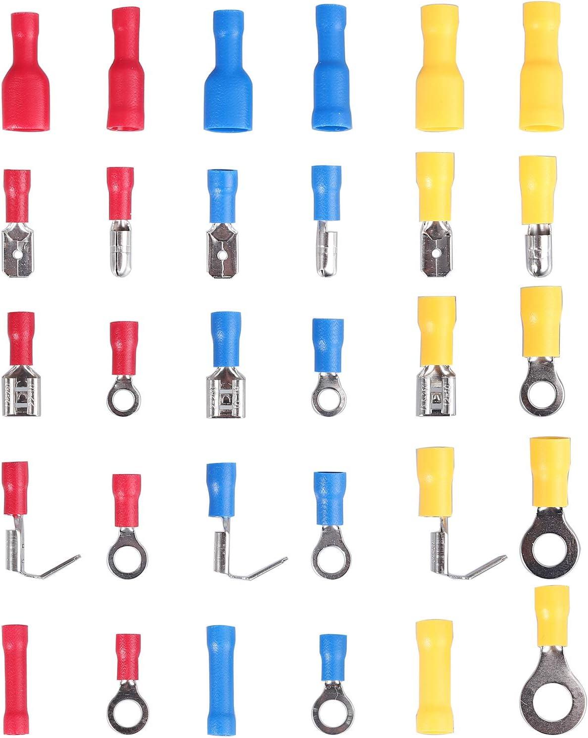 Proster Connecteurs de C/âbles dAppoint 500PCS Kit de Connecteurs de C/âbles Isol/és 22-10 AWG en Cuivre et PVC Isolant Comprenant un M/âle Femelle 30 Types Connecteurs