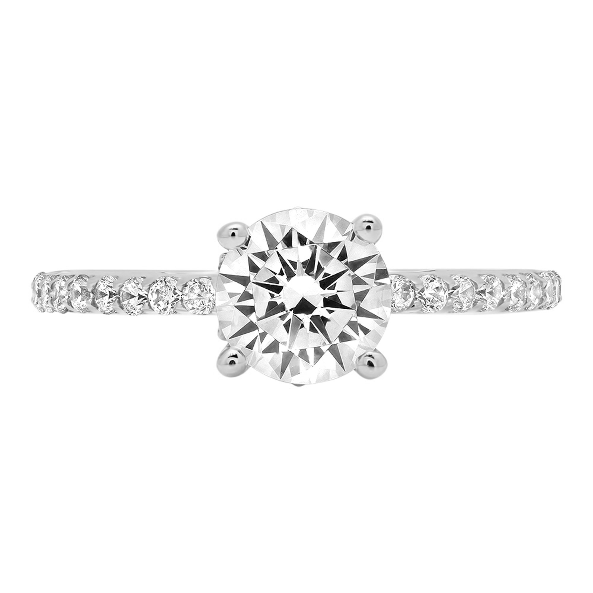 1.64ct Brilliant Round Cut Designer Simulated Diamond Accent Solitaire Statement Ring for Women Solid 14k White Gold, 5