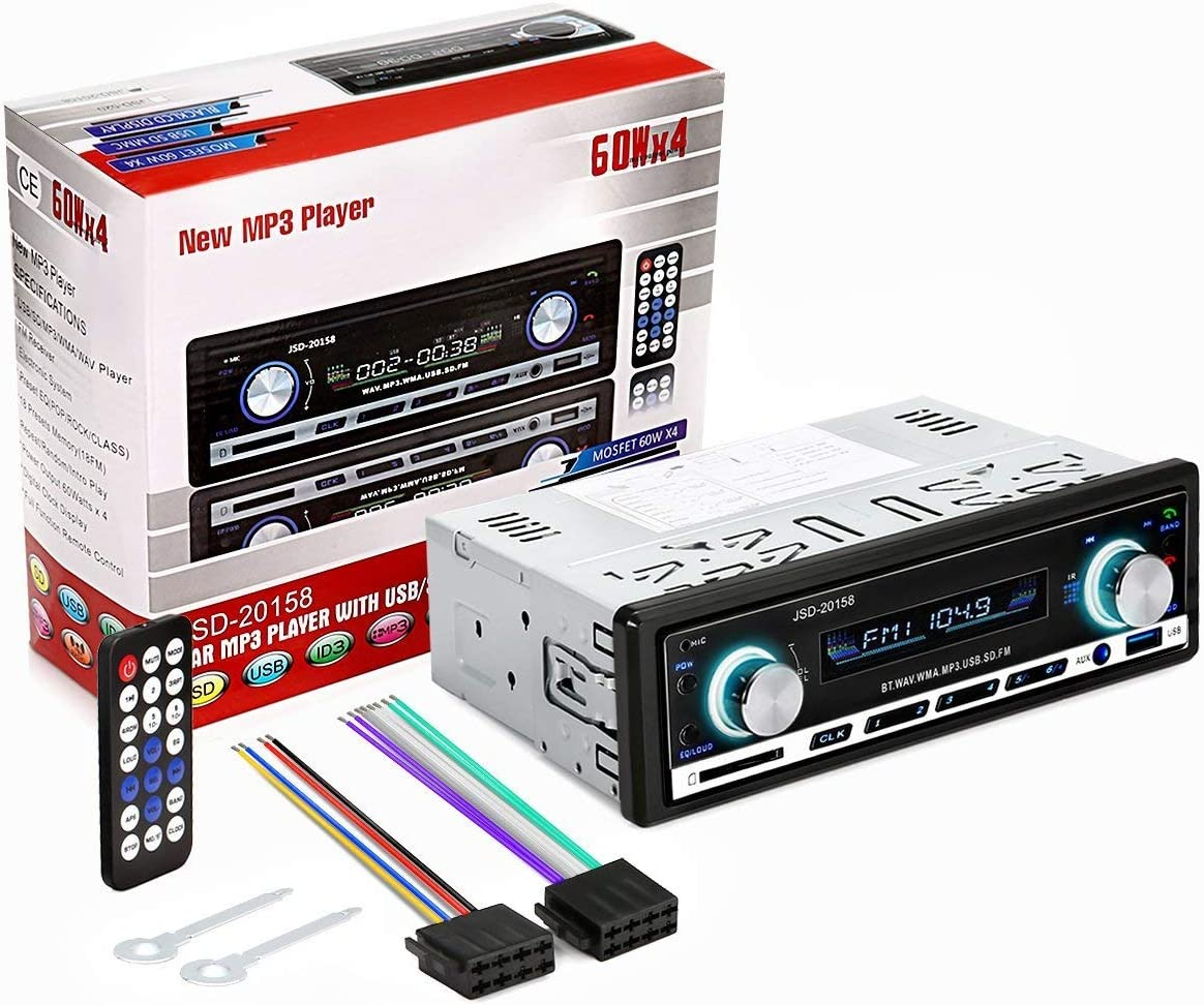 Audew Auto Radio Coche Bluetooth Estereo In Dash AUX USB SD Reproductor Audio MP3