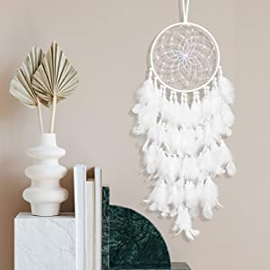 LED Dream Catcher DAYFULI White Feather Pearl Boho Woven Handmade Decor Home Kids Bedroom Wall Hanging Festival Gift