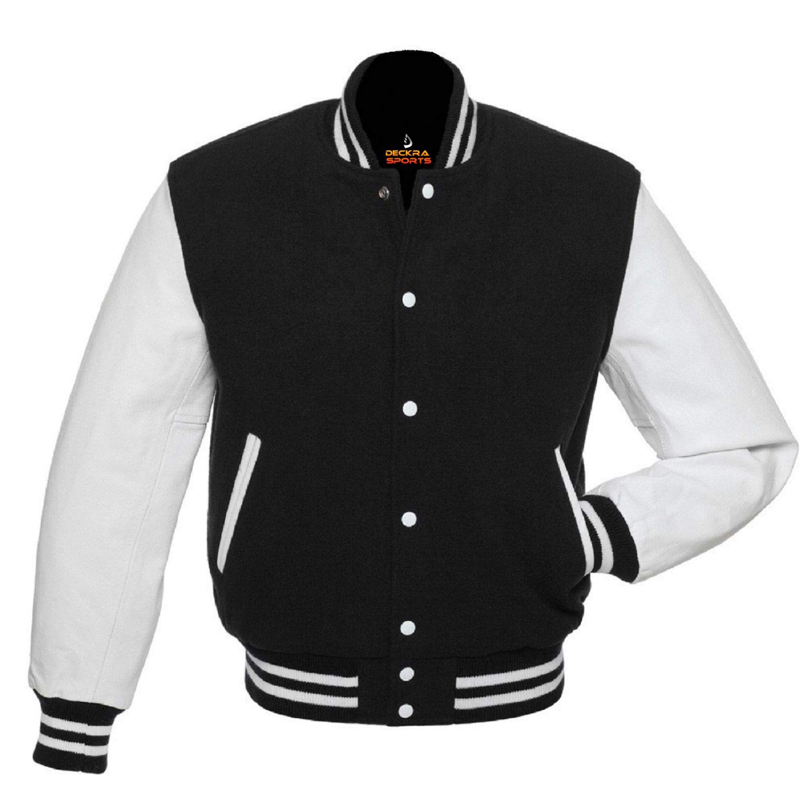 Men's Varsity Jacket Genuine Leather Sleeve and Wool Blend Letterman Boys College Varsity Jackets (Black/White, X-Small) by Deckra