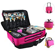 "Relavel Makeup Bags Travel Large Makeup Case 16.5"" Professional Makeup Train Case 2 Layer Cosmetic Bag Makeup Artist Organizer Brush Holder Storage with Shoulder Strap and Dividers (Large Hot Pink)"