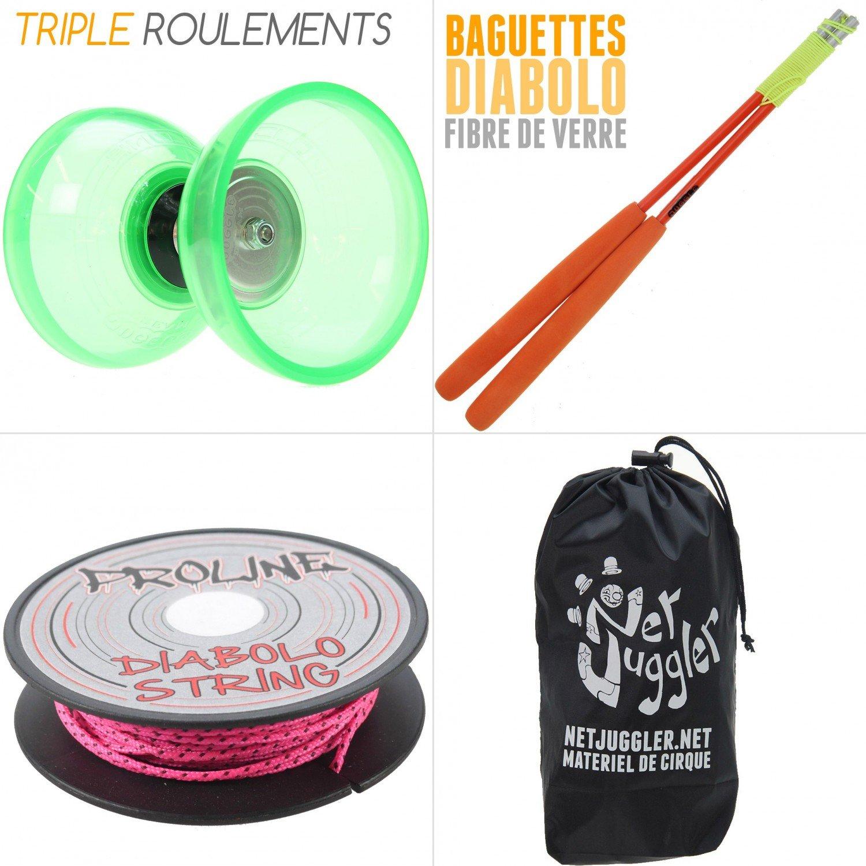 Juggle Dream Diabolo Quartz V2 Vert + Baguettes Superglass Orange + Ficelle Rose + Sac
