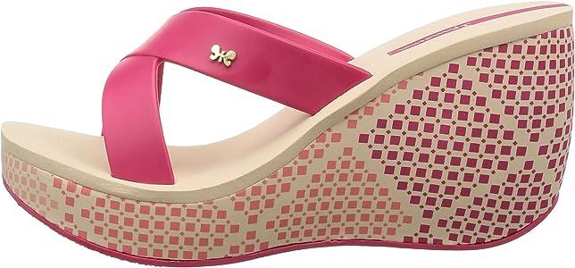 Ipanema Cruise Wedge Women Flip Flop Platform Cross-Over Strap Sandal Pink Beige