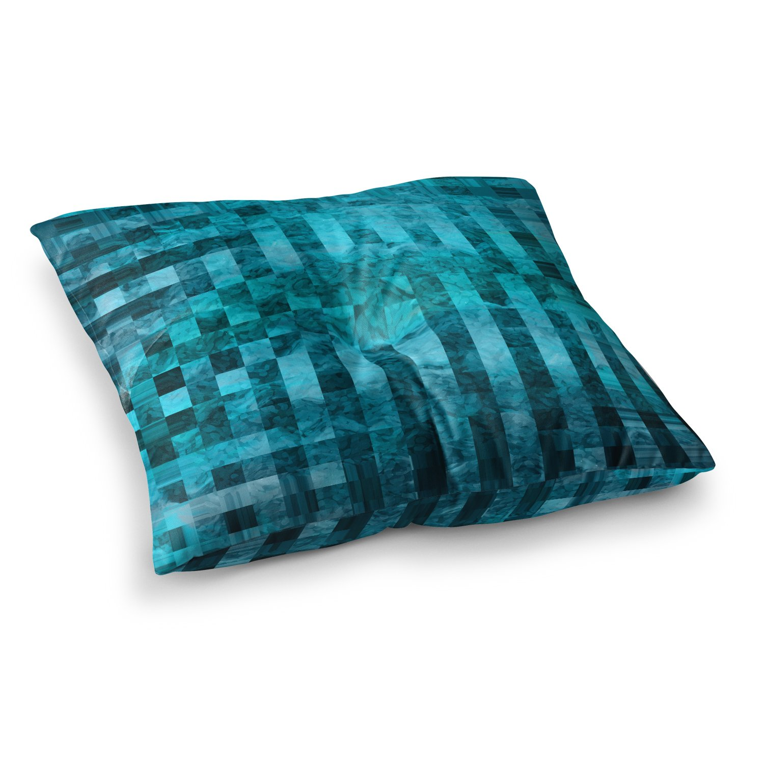 Kess InHouse Suzanne Carter Mosaic Ocean Blue Teal Pattern 23 x 23 Square Floor Pillow
