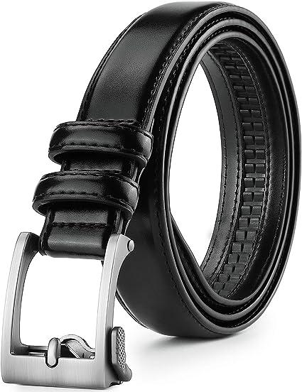 Men Leather Automatic Ratchet Click Lock Buckle Comfort Click Belt Adjustable
