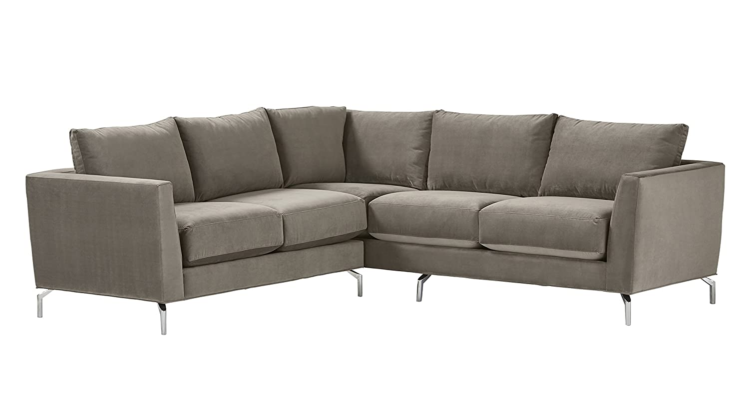 Amazon com rivet emerly modern velvet metal leg sectional sofa 96 w pewter kitchen dining