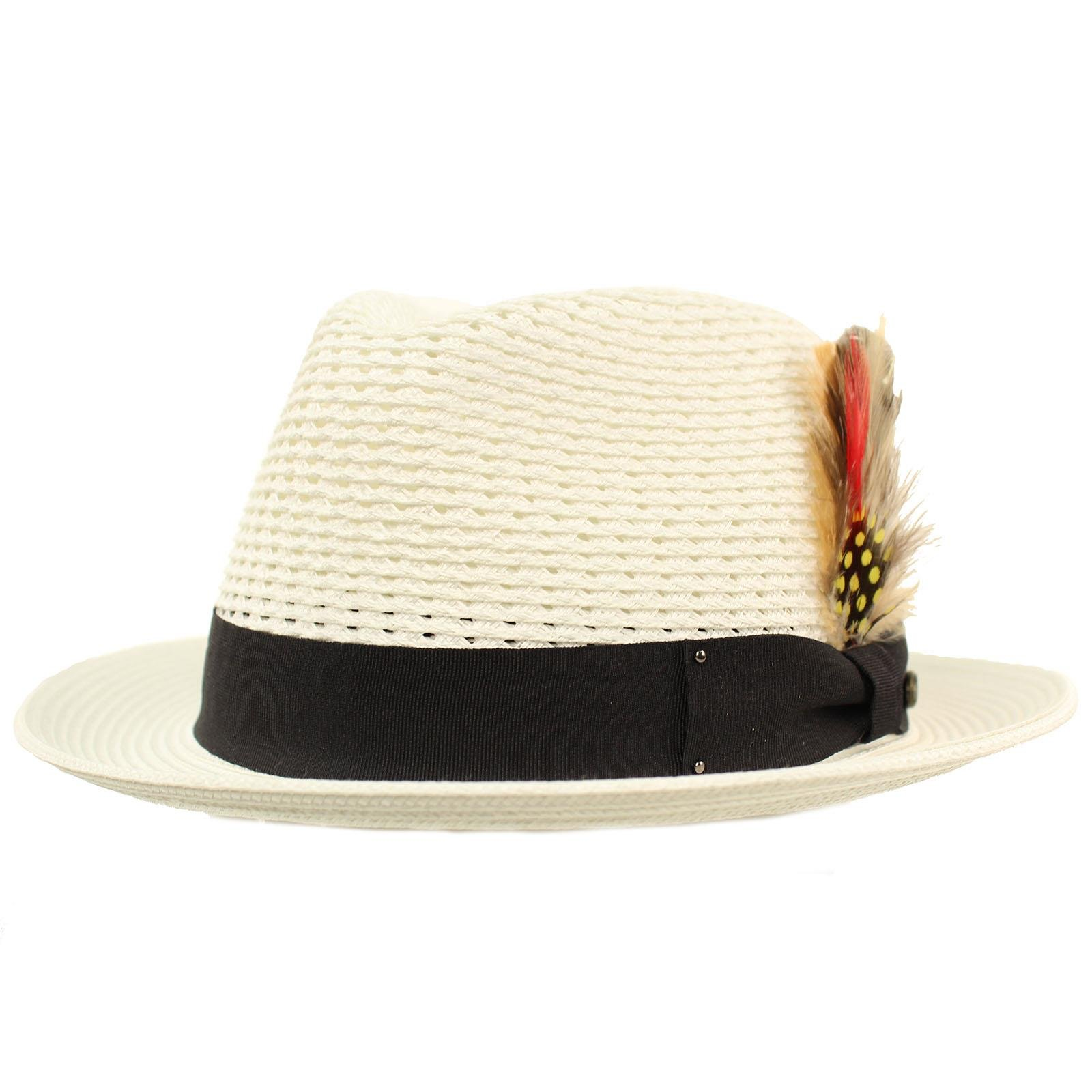 Men's Light Vented Removable Feather Derby Fedora Curled Brim Hat L/XL White