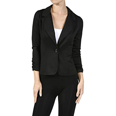 ToBeInStyle Women's 3/4 Sleeve One Button Stretch Knit Blazer - Black - Large at Amazon Women's Clothing store