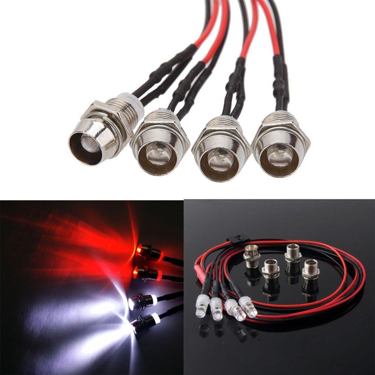 4Leds LED Light Set Headlight Taillight for HSP 1//10 RC Model Car Truck Crawler
