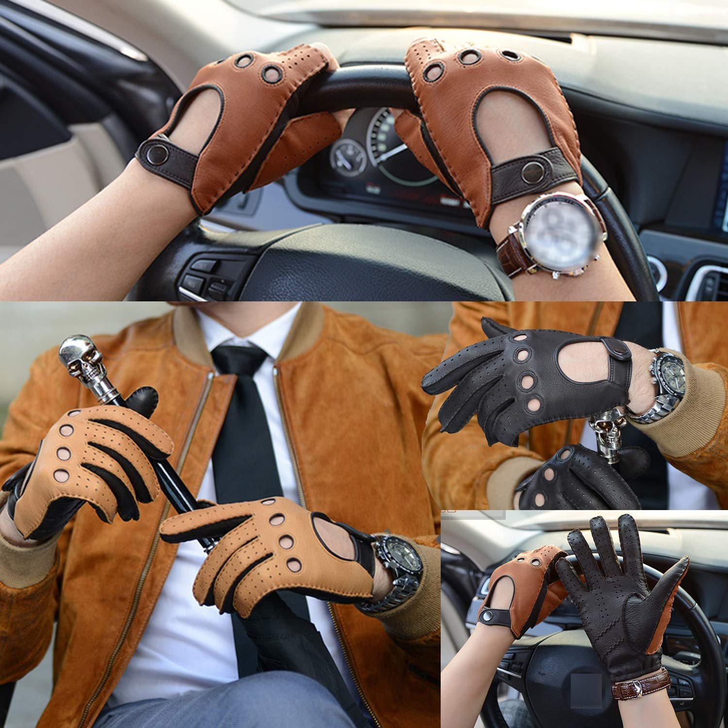 Mens Genuine Leather Mesh Perforated Driving Motorcycle Gloves Driving Gloves,1 pair Various style gloves Color : Brown, Size : L