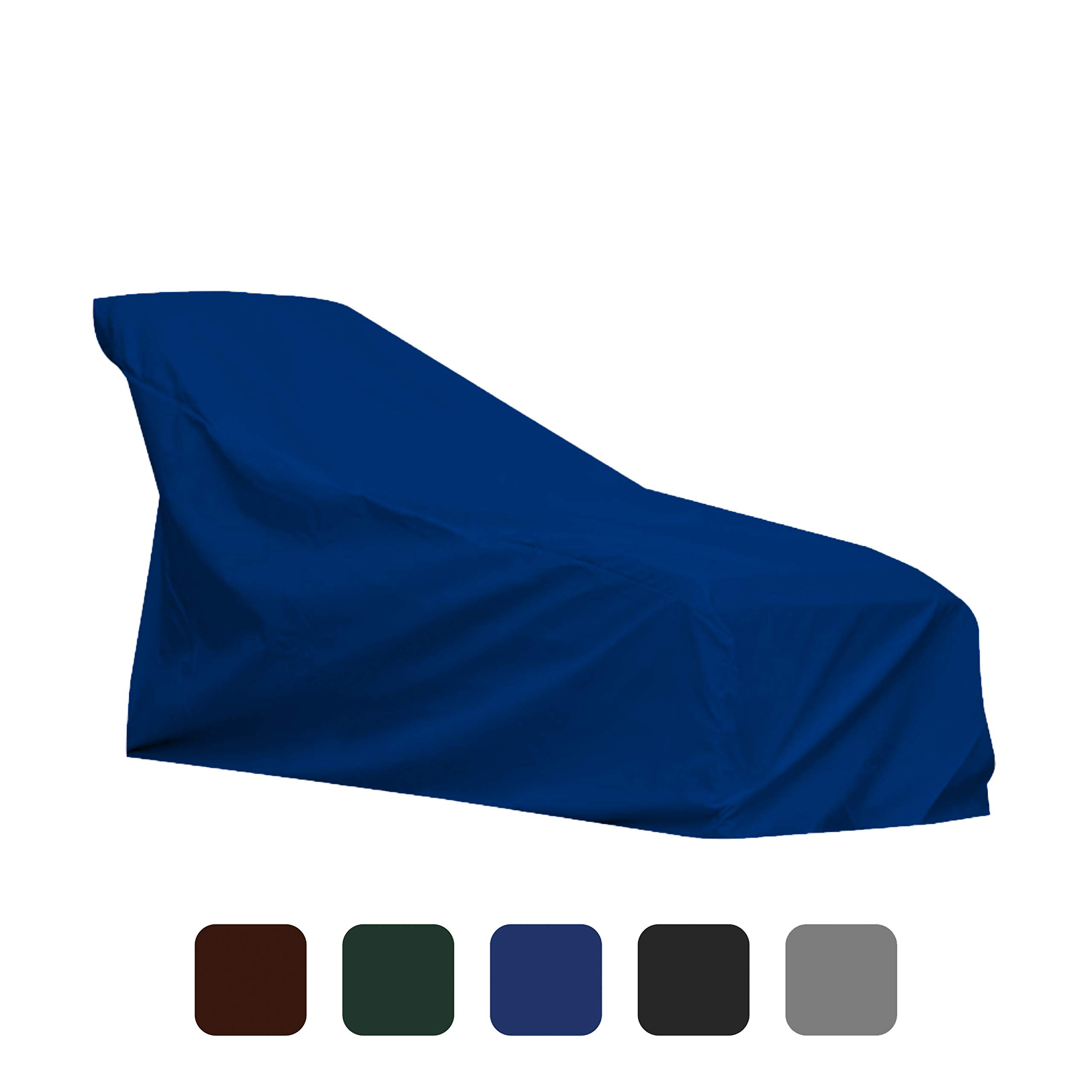 COVERS & ALL Chaise Lounge Cover 18 Oz Waterproof - 100% UV & Weather Resistant Outdoor Chaise Cover PVC Coated with Air Pockets and Drawstring for Snug Fit (80W x 34D x 32H, Blue)