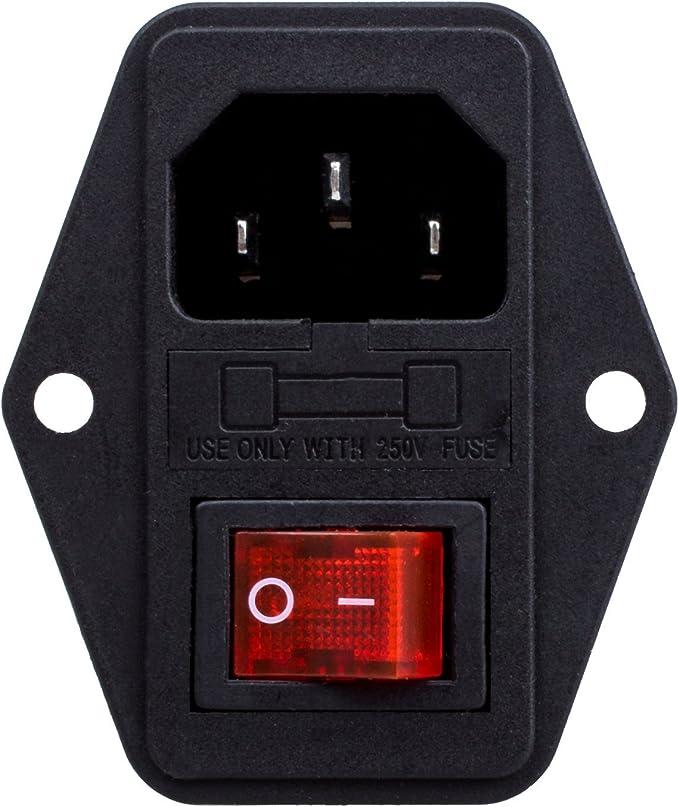 Módulo entrada 3 pines IEC320 C14 conector interruptor macho enchufe alimentación 10A 250V: Amazon.es: Informática