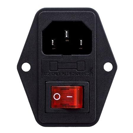 amazon com inlet module plug fuse switch male power socket 10a 250v rh amazon com