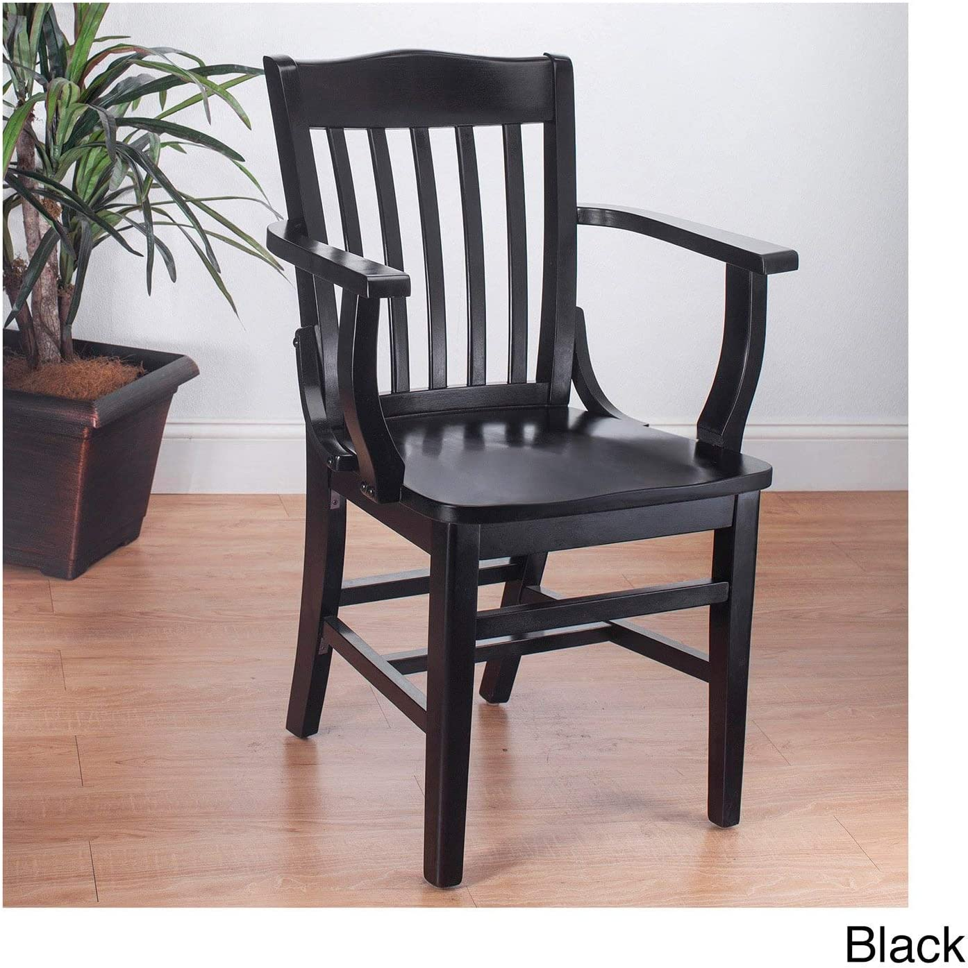 Beechwood Mountain BSD-2A-B Solid Beech Wood Arm Chair in Black for Kitchen Dining, NA